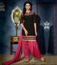 Buy black embroidered Georgette unstitched salwar with dupatta patiala-salwar online