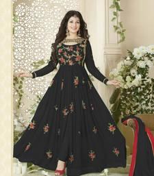 Buy Black embroidered georgette unstitched salwar with dupatta anarkali-salwar-kameez online