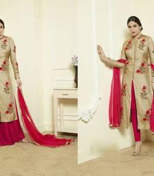 Buy Beige embroidered art silk salwar bollywood-salwar-kameez-online online