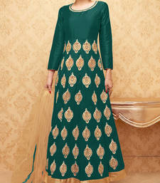Buy Green embroidered banglory silk stitched salwar with dupatta readymade-suit online