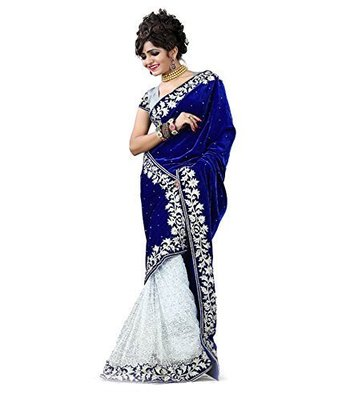 Blue hand woven velvet saree with blouse