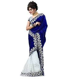 Buy Blue hand woven velvet saree with blouse bollywood-saree online