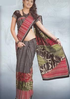 Sarees Cambric Cotton Designer Prints With Blouse Piece D.No 919
