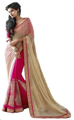 New Bollywood Pink Style Latest Partywear Half Half Saree