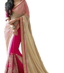 Buy New Bollywood Pink Style Latest Partywear Half Half Saree chiffon-saree online
