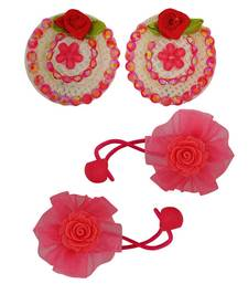 Buy 2 Tic Tac Hair Clips 2 Rubber Band Red Pink Dailywear Schoolwear hair-accessory online
