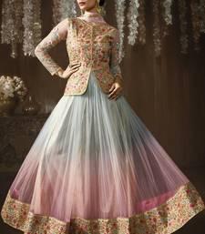 Buy Multicolor embroidered brocade semi stitched salwar with dupatta wedding-salwar-kameez online