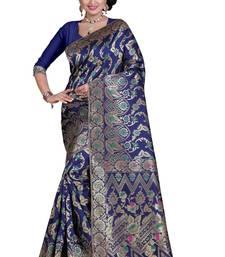 Buy blue hand woven banarasi saree wseith blou banarasi-silk-saree online