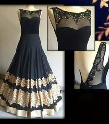 Buy Black embroidered net semi stitched salwar anarkali-salwar-kameez online