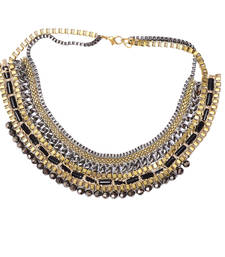 Buy Black, Grey And Golden Color Handmade Artificial Jewellery With Metal Thread And Beads party-jewellery online