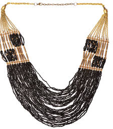 Buy Black And Tawny Color Handmade Artificial Jewellery With Metal Thread And Beads party-jewellery online