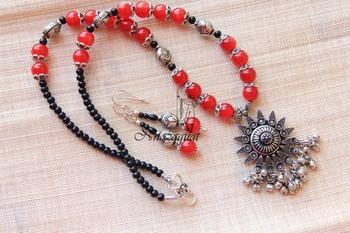 Tribal ethnic oxidised necklace set