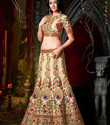 Buy Cream embroidered silk unstitched lehenga ghagra-choli online