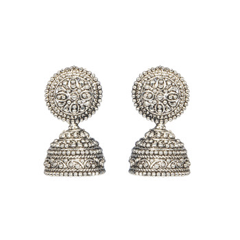 Silver Fusion Black Metal  jhumka Earrings
