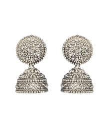 Buy Silver Fusion Black Metal  jhumka Earrings jhumka online