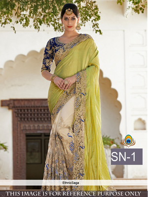 Multicolor embroidered paper cotton saree with blouse