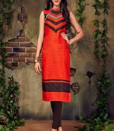 Buy Orange embroidered art silk embroidered-kurtis black-friday-deal-sale online