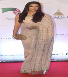 Buy Cream embroidered georgette saree with blouse aishwarya-rai-saree online