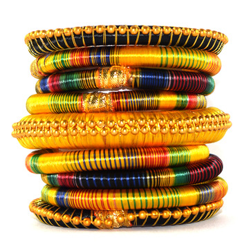 Traditional gota dori for women  and  girls  multicolor silk thread bangle 2.6 (9 pcs)