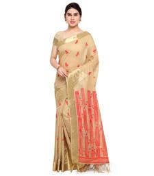Buy Cream woven khadi saree with blouse jute-saree online