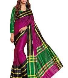 Buy hot pink printed cotton saree with blouse tussar-silk-saree online