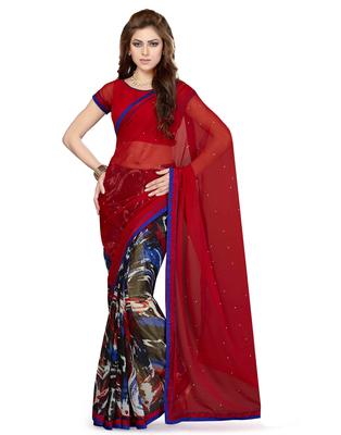 Black printed faux chiffon saree with blouse