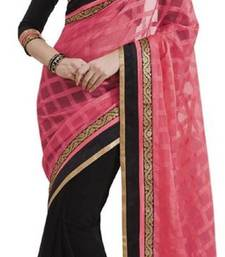 Buy Black printed georgette saree with blouse designer-embroidered-saree online