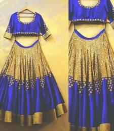 Buy Blue printed banglory silk unstitched lehenga bridal-lehenga online