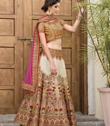 Buy Cream printed satin unstitched lehenga indian-dress online