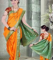 Buy Yellow woven cotton poly nauvari-saree Woman online