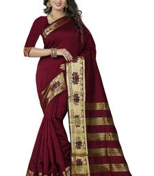 Buy Maroon woven polycotton saree with blouse cotton-saree online
