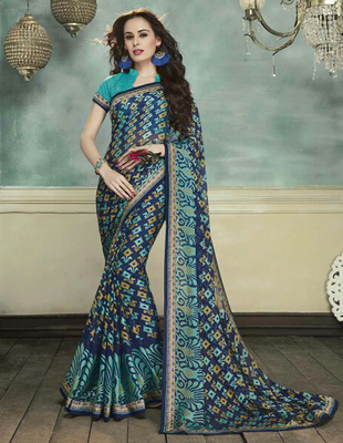 Navy blue printed brasso saree with blouse