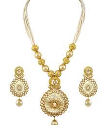 Buy Golden Beige Polki Stones Pendant Set Jewellery for Women - Orniza Pendant online