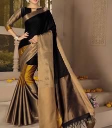Buy Multicolor woven cotton silk saree with blouse wedding-saree online