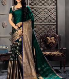 Buy Green woven cotton silk saree with blouse wedding-saree online