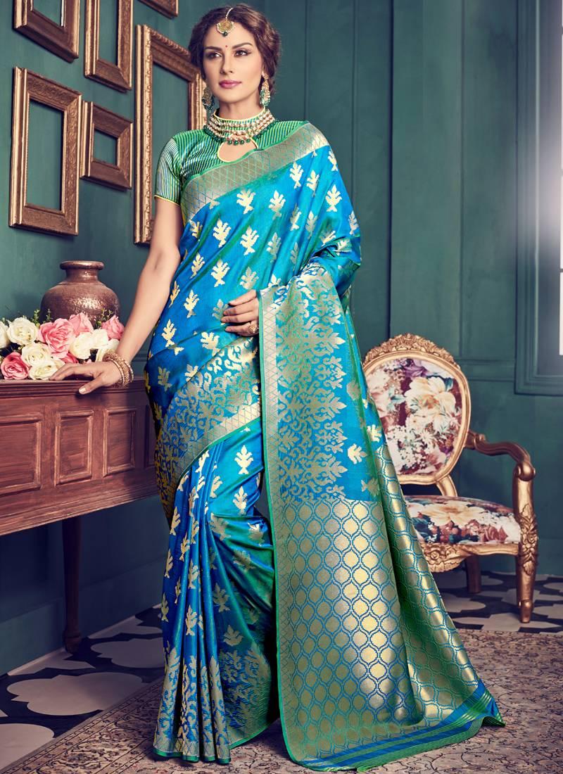 Buy Sky Blue Woven Kanchipuram Silk Saree With Blouse Online