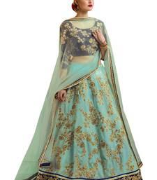 Buy Sky blue embroidered art silk unstitched lehenga lehenga-choli online