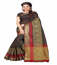 Buy Black printed cotton saree with blouse cotton-saree online