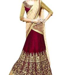 Buy Maroon embroidered banglory silk unstitched lehenga indian-dress online
