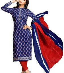 Buy blue printed lawn cotton unstitched salwar with dupatta dress-material online