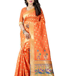 Buy Orange woven paithani art silk saree with blouse paithani-saree online
