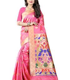 Buy Light pink woven paithani art silk saree with blouse paithani-saree online