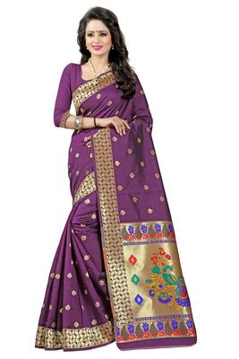 Purple woven paithani art silk saree with blouse
