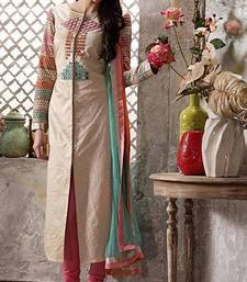 Buy Beige embroidered jute semi stitched salwar with dupatta ethnic-suit online