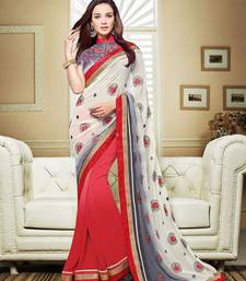 Buy off white embroidered georgette saree with blouse eid-saree online