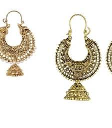 Buy Antique Designer Oxidised Combo pack of 2 Hoop Earrings combo-earring online