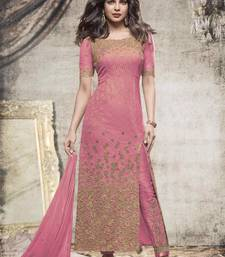Buy pink embroidered net semi stitched salwar with dupatta gifts-for-wife online
