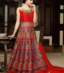 Buy Red embroidered silk semi stitched salwar with dupatta wedding-salwar-kameez online