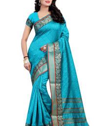 Buy Sky blue hand woven cotton silk saree with blouse cotton-silk-saree online