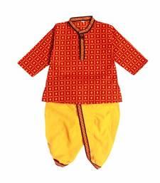 Buy Yellow and Red Sanganeri Printed Cotton Dhoti Kurta kids-kurti online